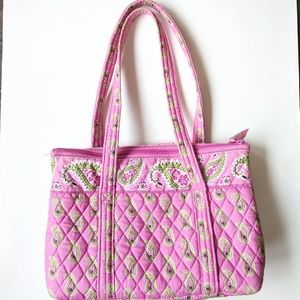 Vera Bradley Pink and Lime Floral Tote Style Bag